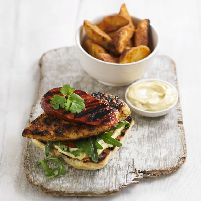 Chicken and Chorizo open burger with garlic mayo recipe-chicken recipes-recipe ideas-woman and home