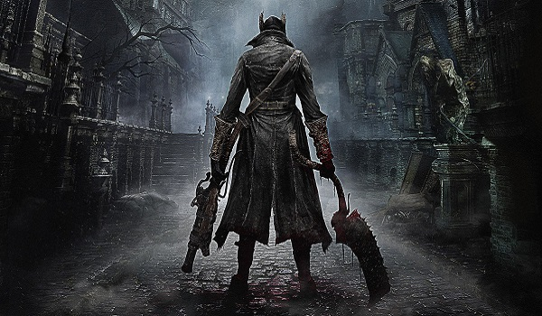 hunter stands with weapons ready in bloodborne