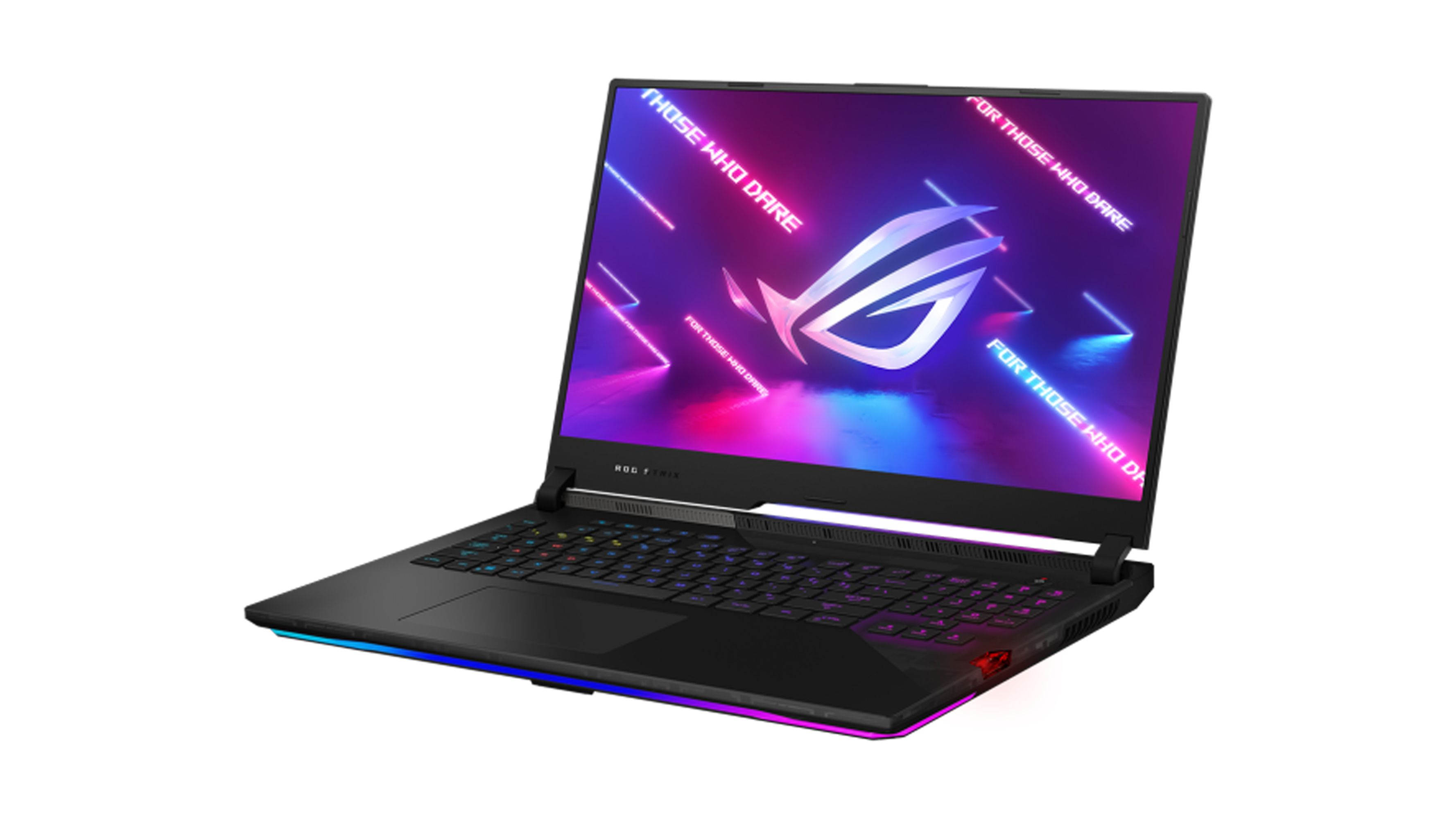 Asus ROG Strix SCAR 17 G733 on a white background. The gaming laptop is open, and there's a pink and purple background on the screen with the Asus ROG logo.