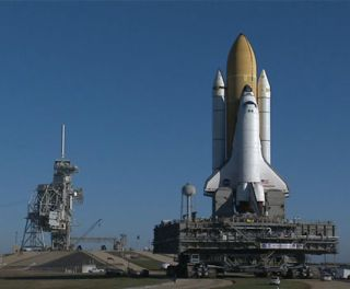 Space Shuttle Endeavour Takes Frigid Trip to Launch Pad