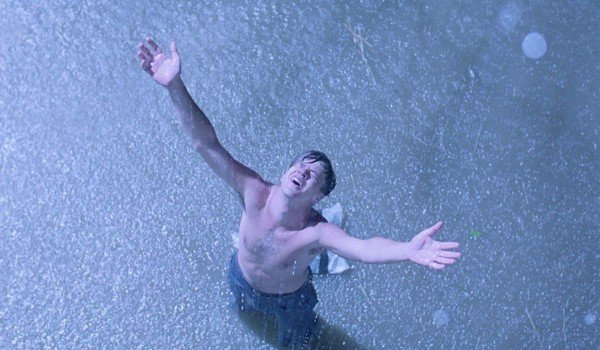 The Shawshank Redemption Andy stands in the rain, a free man