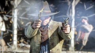 Red Dead Redemption 2 protagonist Arthur Morgan fires two revolvers into the camera.