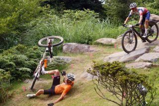 Tokyo 2020 Olympic Games - Olimpiadi Tokyo 2020 - Men's MTB Race - Izu Mountain Bike Course 41km - 26/07/2021 - Crash - Mathieu Van Der Poel (NED - Alpecin-Fenix) - Thomas Pidcock (GBR) - photo Luca Bettini/BettiniPhoto©2021