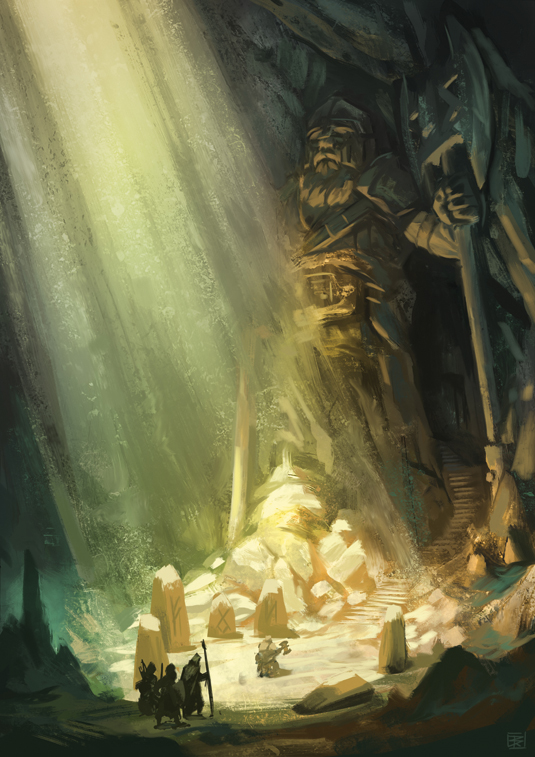 How to paint a gloomy underground scene