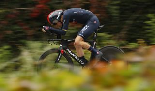 Rohan Dennis in action in the 2020 Giro d'Italia.