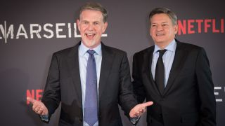 """(L-R) Reed Hastings (Netflix CEO) and Ted Sarandos (Netflix Chief Content Officer) attend the """"Marseille"""" Netflix TV Series World Premiere At Palais Du Pharo In Marseille, on May 4, 2016 in Marseille, France."""