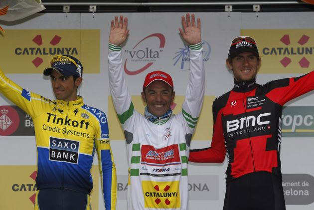 Alberto Contador, Joaquim Rodriguez Oliver and Tejay van Garderen on the podium after Stage Seven of the 2014 Tour of Catalonia