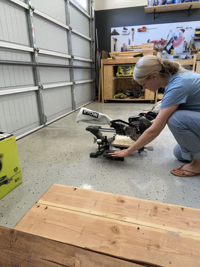 Brooke using the Ryobi mitre saw