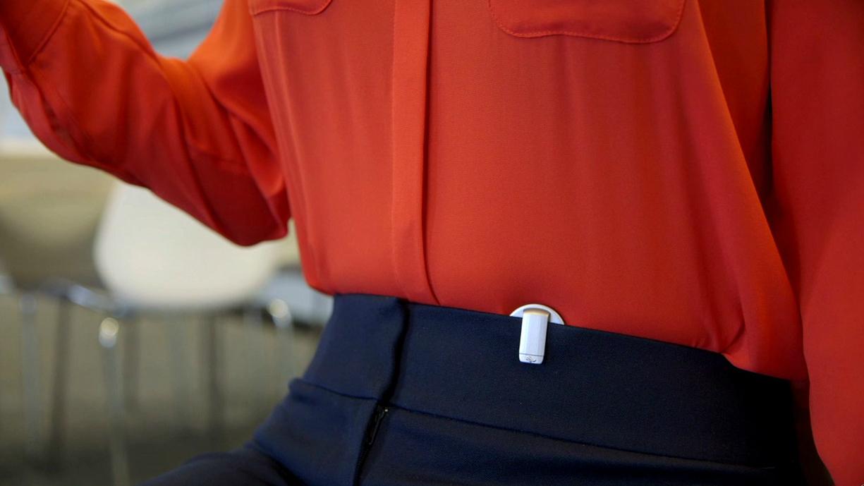 Prana device clipped into a belt