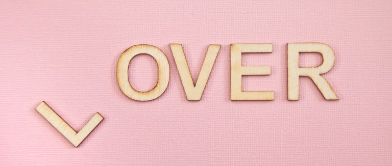 getting over a breakup - The L is removed from the word lover to leave the word over