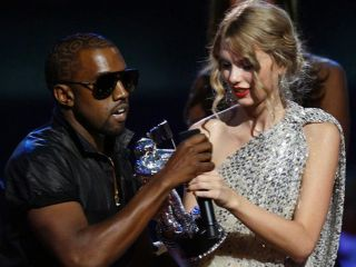West yanks the award and mic from a shaken Swift