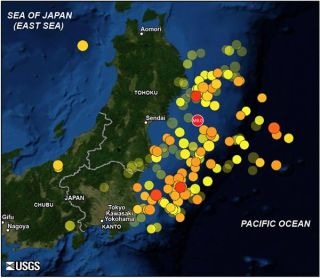 Map showing the 11 March 2011 magnitude 9.0 off Tohoku mainshock and 166 aftershocks of magnitude 5.5 and greater until May 20. Warmer color indicates more recent events. Larger symbol indicates greater quake magnitude.