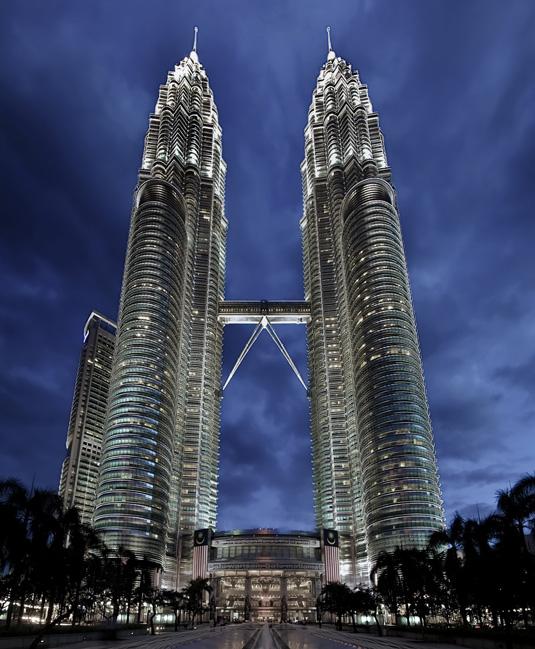 Famous buildings: The Petronas Towers in Kuala Lumpur