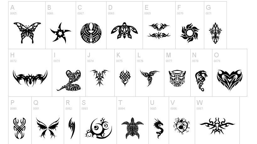 Tattoo fonts: Tribal Tattoo