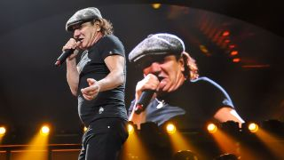 Brian Johnson, shouting at himself