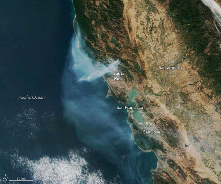 California's Kincade Fire Spawns Huge Plume Visible from Space