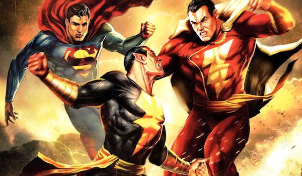 Black Adam fighting superman and shazam