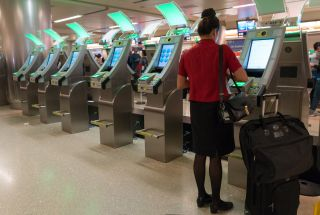 Airport passport-control kiosks at Los Angeles International Airport in 2017.