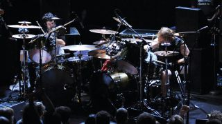 Crover and Willis in double-drumming action