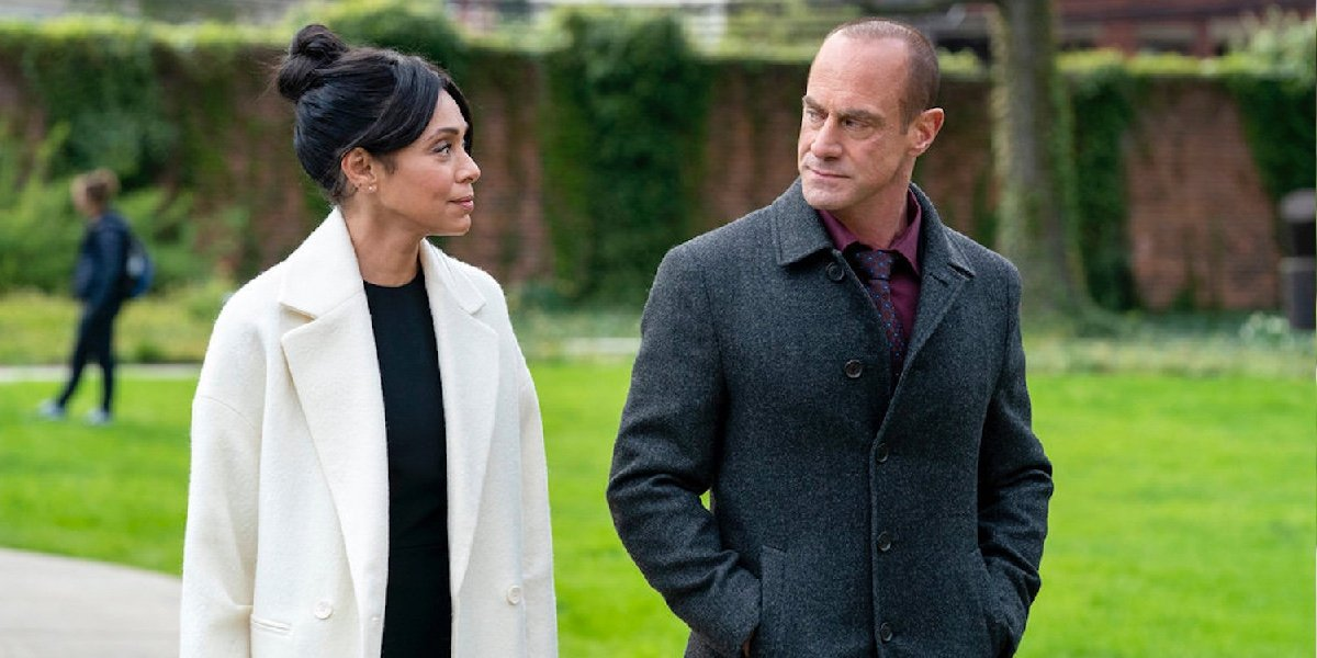 Tamara Taylor as Angela Wheatley and Christopher Meloni as Elliot Stabler in Law and Order: Organized Crime.