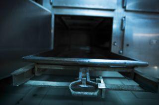 A morgue fridge.
