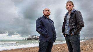 Maschine's Elliott Fuller and Luke Machin by the old Brighton Pier