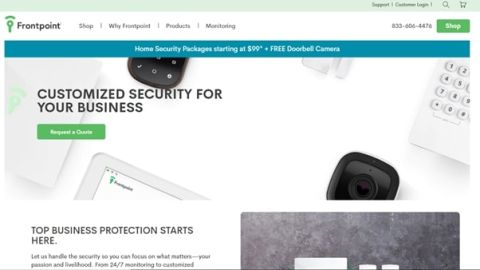 screenshot of Frontpoint homepage