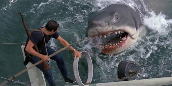 The giant shark attacking in Jaws
