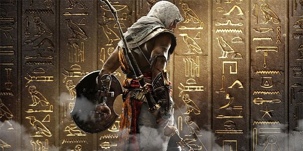 An assassin stands in front of hieroglyphs.