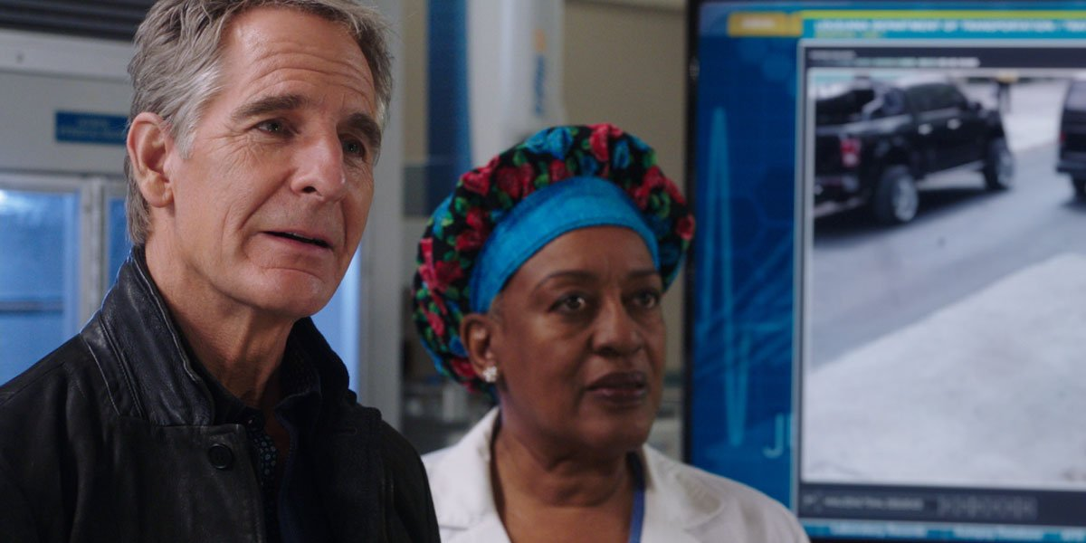 Scott Bakula and CCH Pounder in the NCIS New Orleans finale, photo courtesy of CBS.