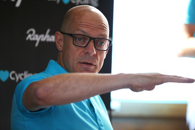 Dave Brailsford speaks during the second rest day at the Tour de France