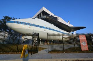 Space Shuttle on Boeing 747 at Independence Plaza