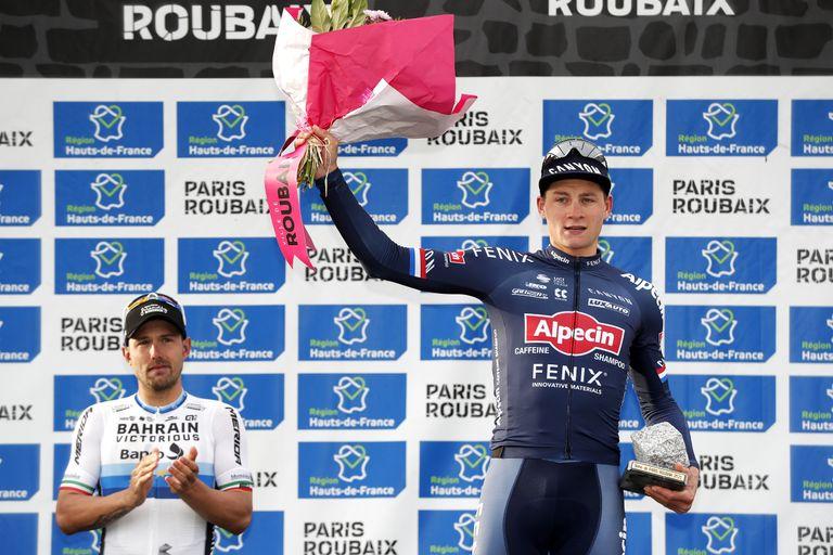 Mathieu van der Poel on the 2021 Paris-Roubaix podium after finishing third