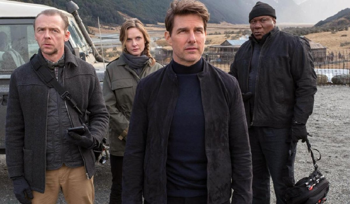 Mission: Impossible - Fallout Simon Pegg, Rebecca Ferguson, Tom Cruise, and Ving Rhames in the field