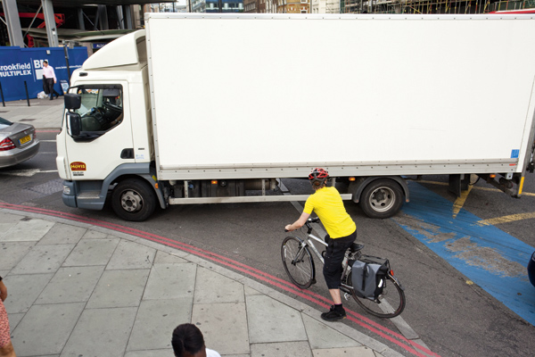 Cyclist and lorry