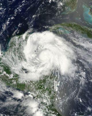 Hurricane Ernesto seen before landfall