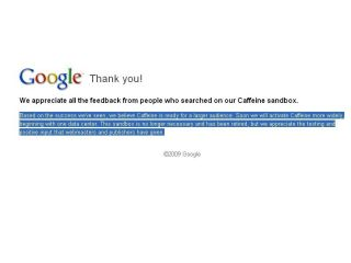 Google's Caffeine page updated