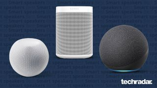 The Apple HomePod Mini, Sonos One and the Amazon Echo (202) on a blue background