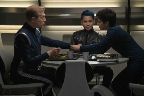 Paul Stamets (Anthony Rapp), Gray (Ian Alexander), and Adira (Blu del Barrio) in 'Star Trek: Discovery'.
