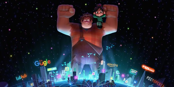 Ralph and Vanellope standing victorious over the internet