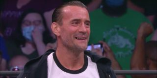 CM Punk smiling at the AEW crowd