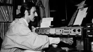 Singer/Songwriter Frank Zappa plays DJ for a day at WKLS 96 Rock in Atlanta Georgia. October 25, 1981