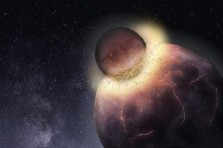 A new theory holds that Earth might have received the elements it needed for life to form from a massive collision with a Mars-sized planet.