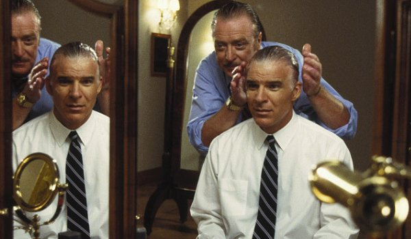 Dirty Rotten Scoundrels Michael Caine does Steve Martin's hair in a mirror