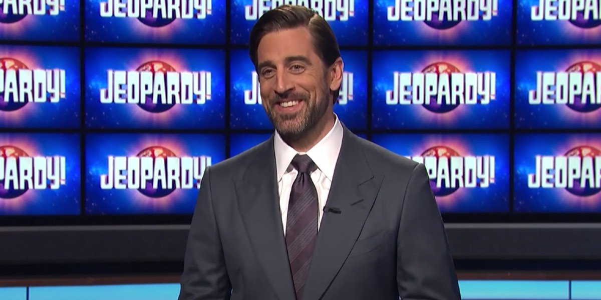 Aaron Rodgers on Jeopardy! set