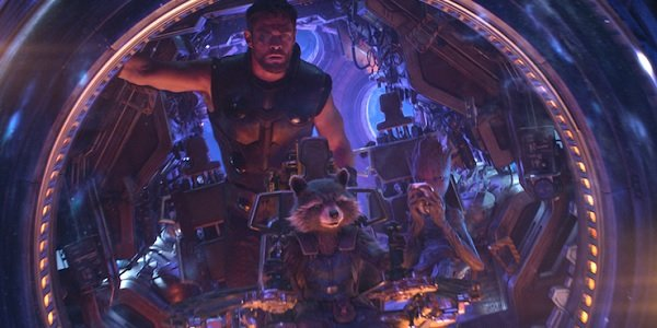 Avengers: Infinity War Chris Hemsworth Thor Rocket and Groot navigating the pod