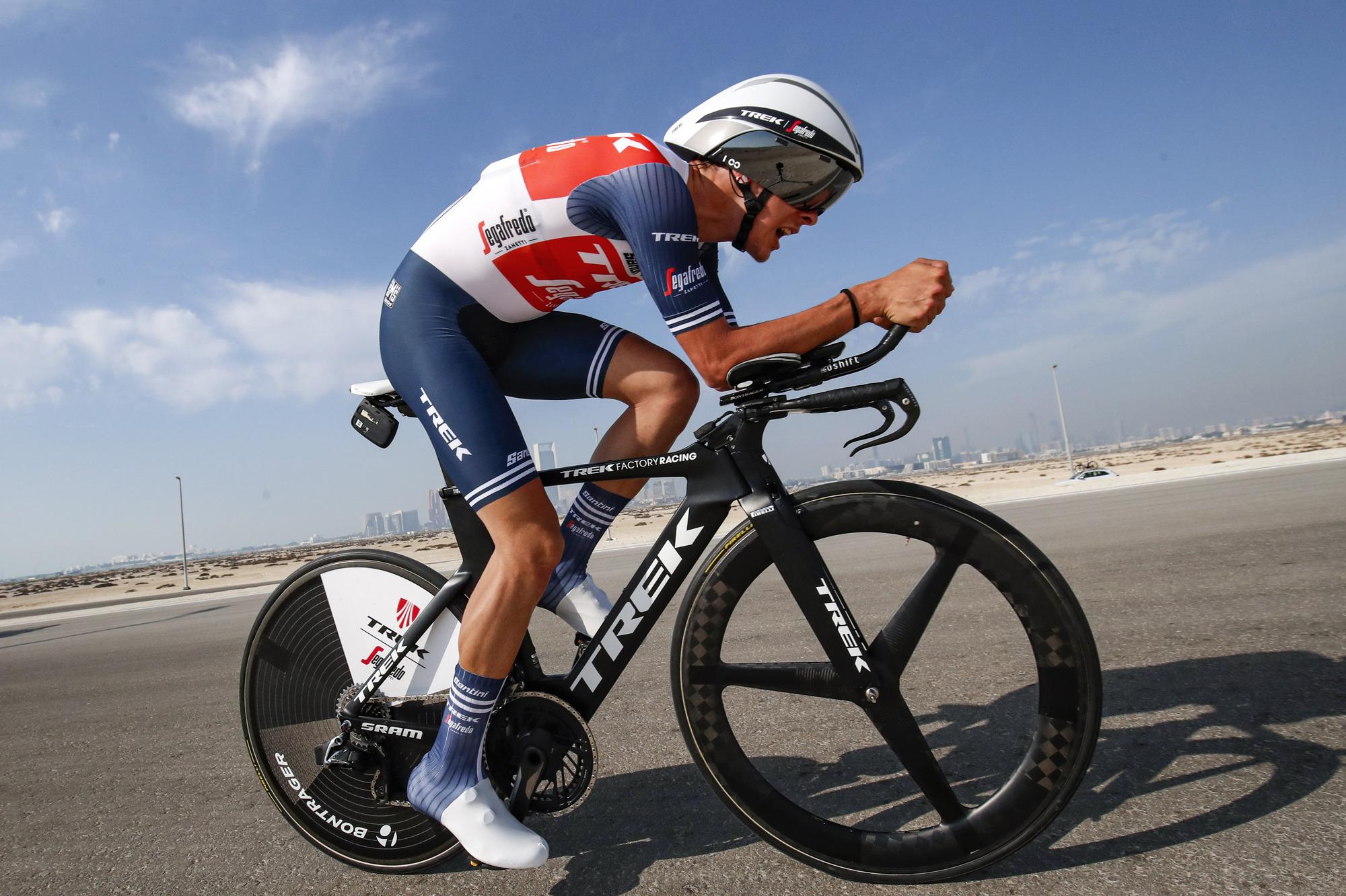 Antonio Tiberi (Trek-Segafredo) before his crash at the UAE Tour