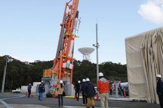 The Japan Aerospace Exploration Agency's experimental SS-520-4 rocket is prepared to launch the TRICOM-1 microsatellite into orbit. The rocket failed to reach orbit after its launch on Jan. 15, 2017 from Japan's Uchinoura Space Center.