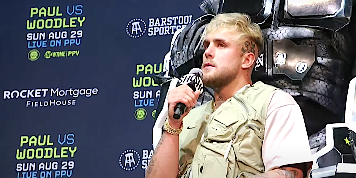 Jake Paul speaks at press conference ahead of boxing match with Tyron Woodley