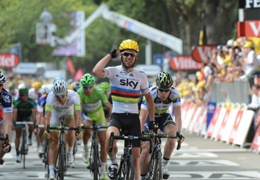 Mark Cavendish wins, Tour de France 2012, stage two